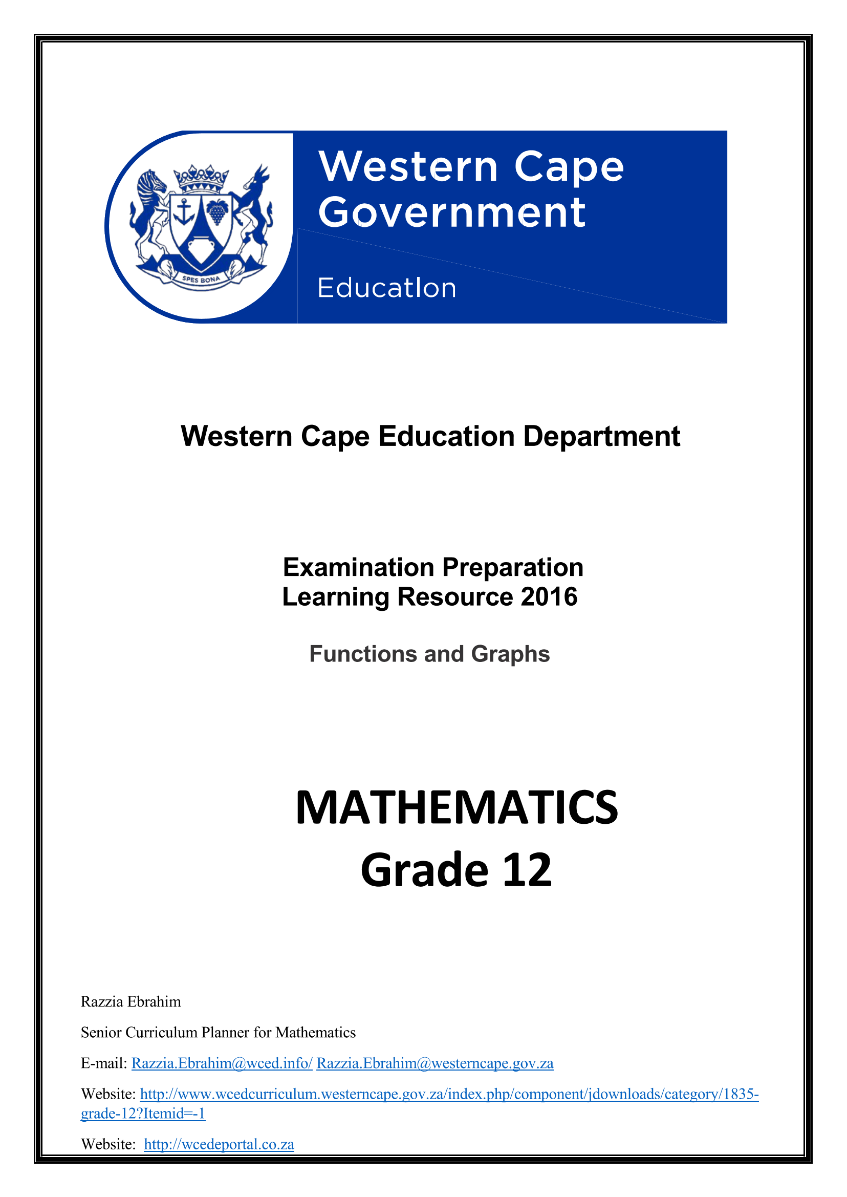 Mathematics Grade 12 Functions and Graphs | WCED ePortal