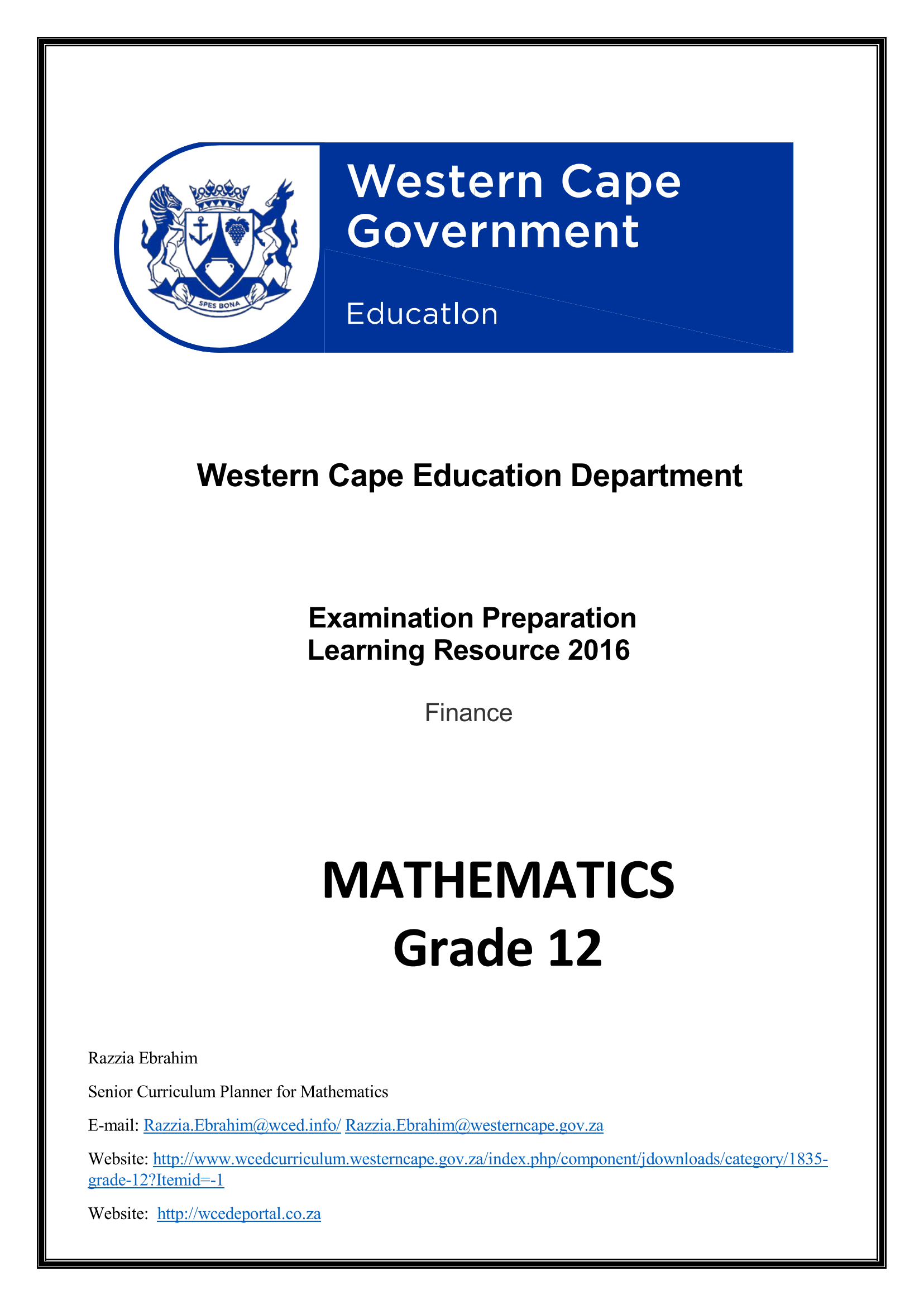 mathematics grade 12 finance wced eportal rh wcedeportal co za